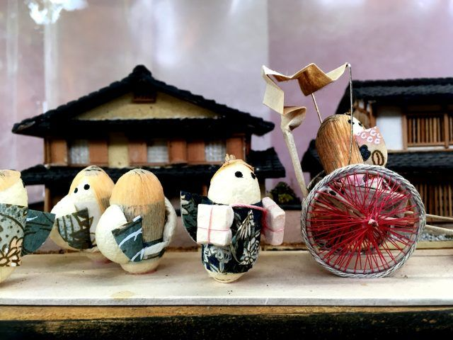 One of the unique souvenirs to buy in Kyoto are these tiny creatures made from silk cocoons.