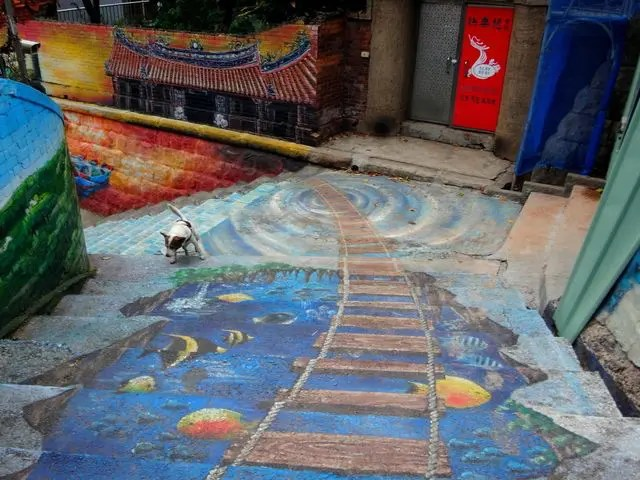 Street art in Tamsui, Taipei. If you want to visit Oia Art Cafe and it's alpacas, you leave from Tamsui.