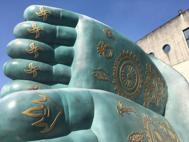 Feet of the large Buddha statue at Nanzoin Temple, Fukuoka. It's believed to be the largest reclining Buddha statue in the world.