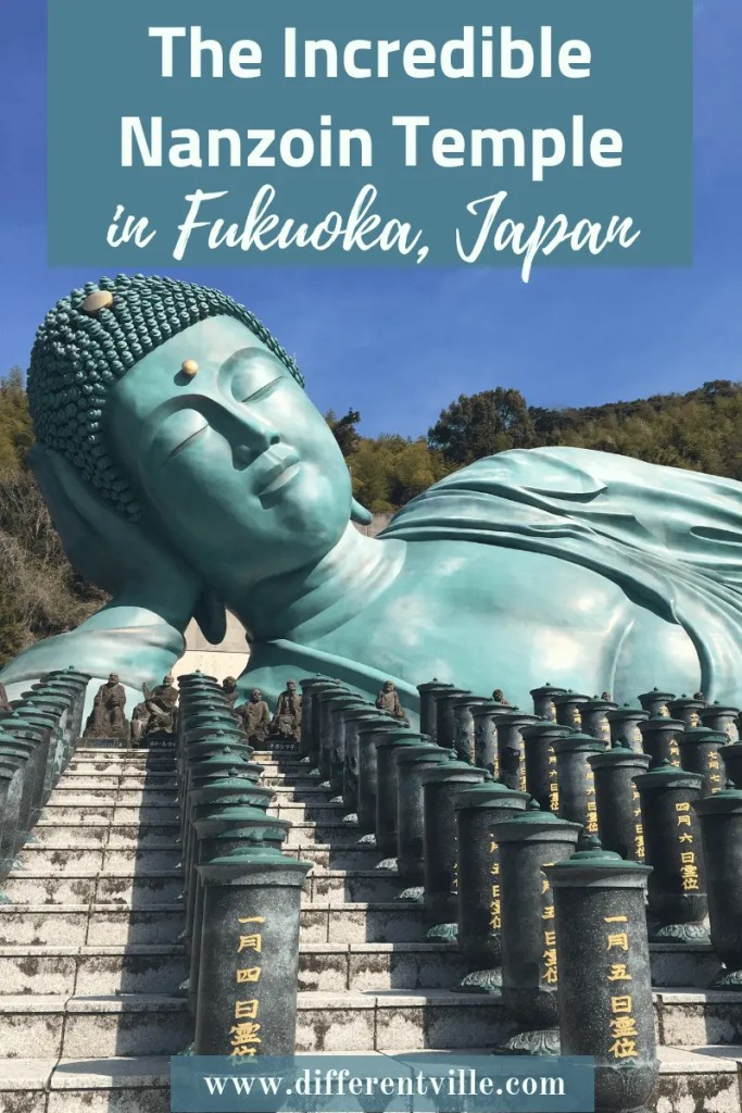 If you're visiting Fukuoka, Japan, then add the amazing Nanzoin Temple to your list of things to see in Fukuoka. It's completely incredible. Here's why and how to get to Nanzoin Temple from Hakata station. Click to read it now or save it to  your Fukuoka or Japan boards for later. #japanesetemples #kyushu #fukuoka #nanzointemple