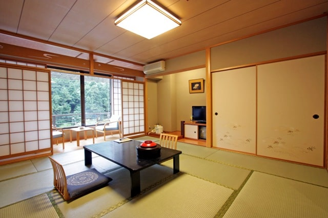 Room in a hot springs hotel in Japan. It looks like a room in a traditional ryokan, but there are a lot of small differences.