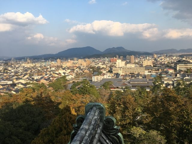 View from the top of Matsue Castle, Japan, overlooking the city and mountains