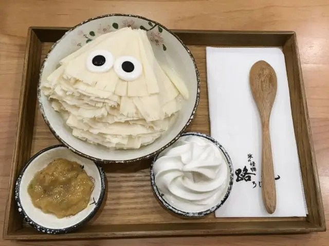 Ice dessert at Roji Monster Ice Cafe it Taipei. Shaped like a fan with googly eyes on it.