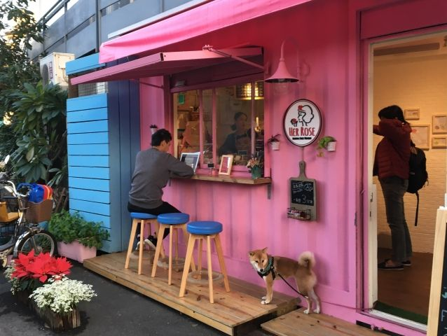 Exterior of Her Rose Cafe one of Taipei's Cute Cafes. It has pink walls, flower and a Shiba dog outside