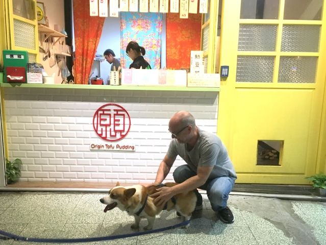 Man playing with the cute corgi who lives at Origin Tofu Pudding in Taipei