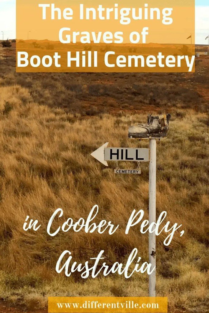 Sign consisting of an old Boot, the word hill and the word cemetery.
