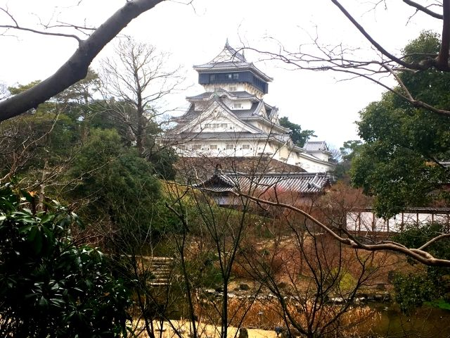 Image of a white Japanese castle taken from behind trees