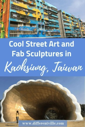 Painted houses and a large shell sculpture