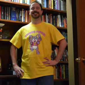 Scalzi demonstrates his feminist cred in his Gamma Rabbit shirt. (As opposed to an alpha male, presumably lupine.)