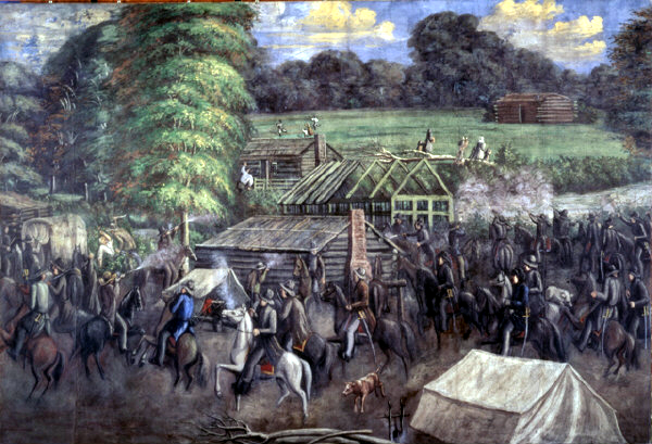 A painting of the Haun's Mill Massacre. Or, as Roithmayr describes it, the Haun's Mill Polite Conversation.