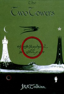 Tolkien's own cover art for The Two Towers.