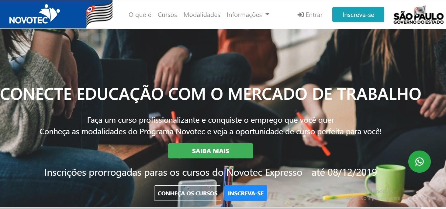 Alunos do 9º ano da rede pública podem se inscrever no Novotec Integrado