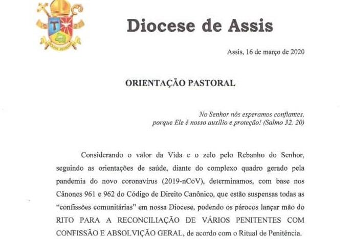 Diocese divulga novas ações preventivas ao novo coronavírus