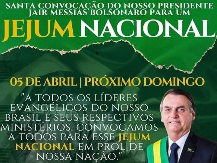 Bolsonaro faz chamado nacional para 'domingo de jejum' religioso contra o Coronavírus