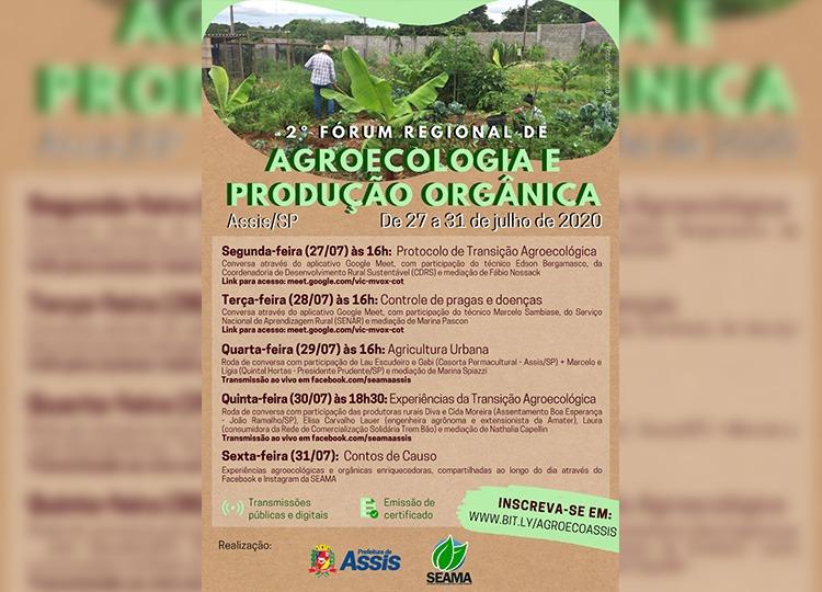 2º Fórum Regional de Agroecologia e Produção Orgânica será online de 27 até 31 de julho