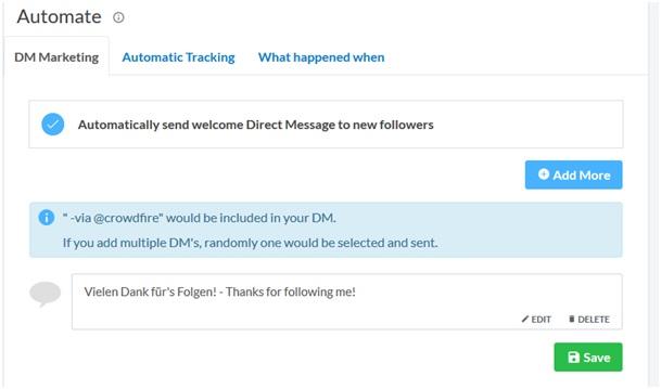 """Mittels der """"DM Marketing""""-Funktion können neue Followers eines Accounts automatisiert per """"Direct Message"""" angeschrieben werden."""
