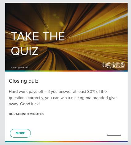 Screenshot of the ngena WBT Quiz.