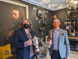 Mark presenting the Award Trophy for Best Sparkling Rose to Trevor in Arundel