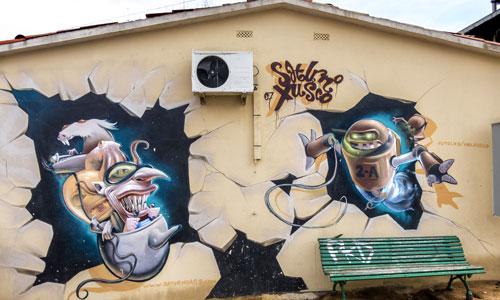 Saturno Ags y Xusco arte urbano en Blanes