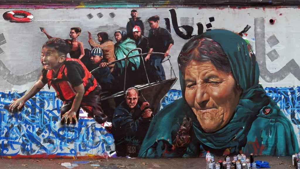 Arte urbano en Barcelona Refugiados