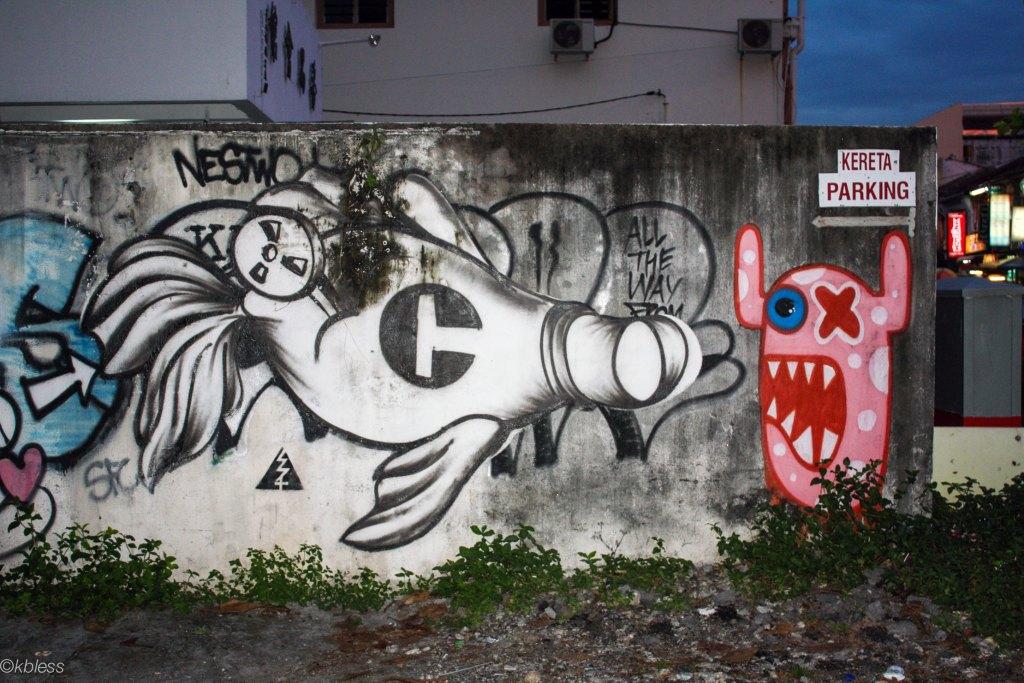 arte urbano Oxalien en Penang, Malaysia