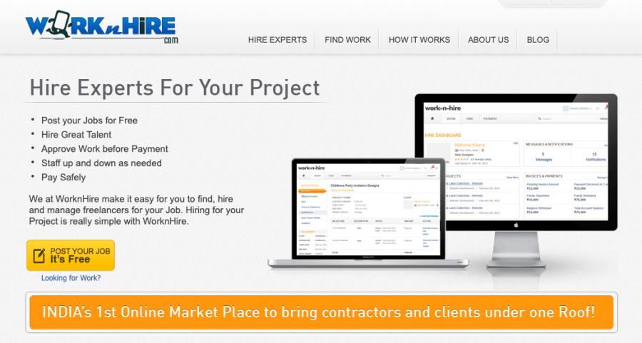 WorknHire - freelancing websites list