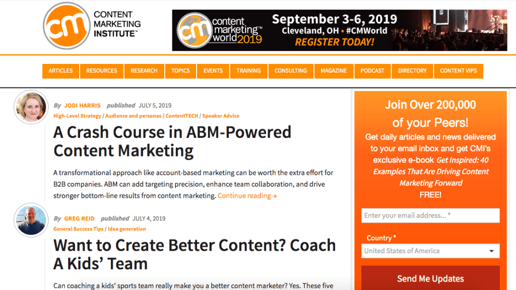 content marketing blog - CMI