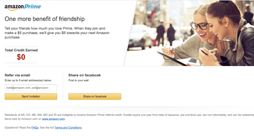 Best Referral Programs - Amazon Prime Referral