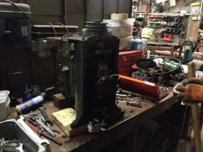 The Jeep engine on the bench