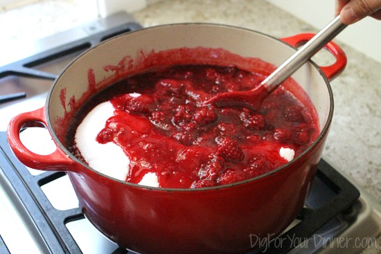 making loganberry jam