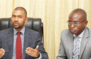 Works and Supply Minister Vincent Mwale with Special assistant to the President Amos Chanda at State House