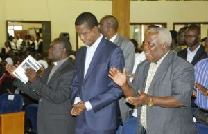 President Edgar Lungu ( c) at St Andrews UCZ church in Lusaka-picture by Tenson Mkhala