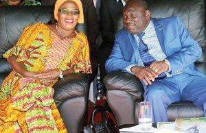 Defense minister Davis Chama with PF deputy secretary Mumbi Phiri at State House in Lusaka-picture by Tenson Mkhala