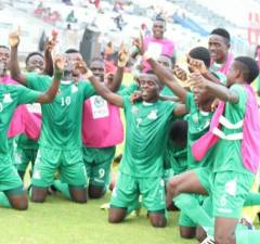Junior chipolopolo Under 20 team celebrates after scoring