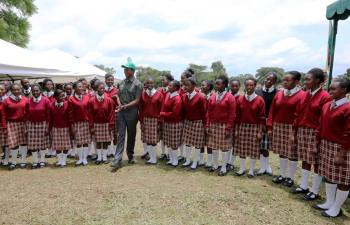 President Edgar Lungu with Kabulonga Girls Secondary School pupils on January 20, 2017 - Picture by State House