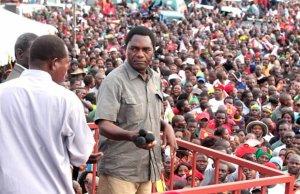 UPND Leader Hakainde Hichilema during 2016 rally in Lusaka's Mandevu Township-Picture by Tenson Mkhala