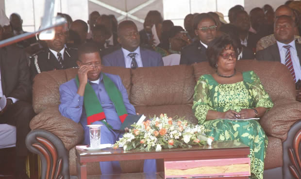 President Edgar Lungu with wife Esther at the National Prayers in Lusaka-Picture by Tenson Mkhala