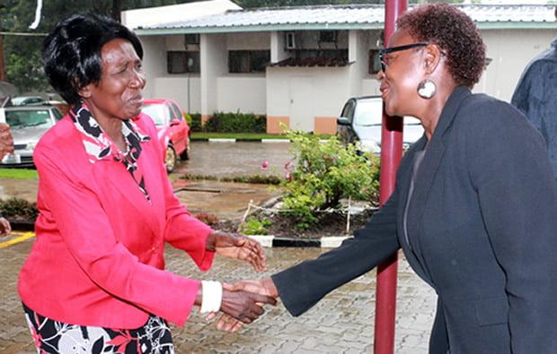 Vice President Inonge Wina greets Cheswa Kaunda in Lusaka-picture by Tenson Mkhala