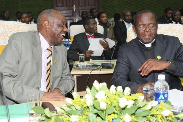 Veteran Politician Venon Mwaanga with Archbishop of Lusaka Telesphore Mpundu in Lusaka-Picture by Tenson Mkhala