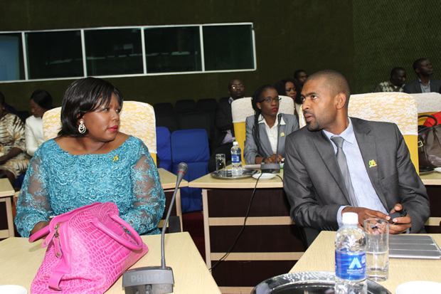 Agriculture Minister Dora Siliya speaks to Works and Supply minister Vincent Mwale in Lusaka-Picture by Tenson Mkhala