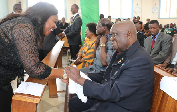 Former fisrt lady Maureen Mwanawasa greets Dr Kenneth Kaunda during church service in Lusaka-picture by Tenson Mkhala