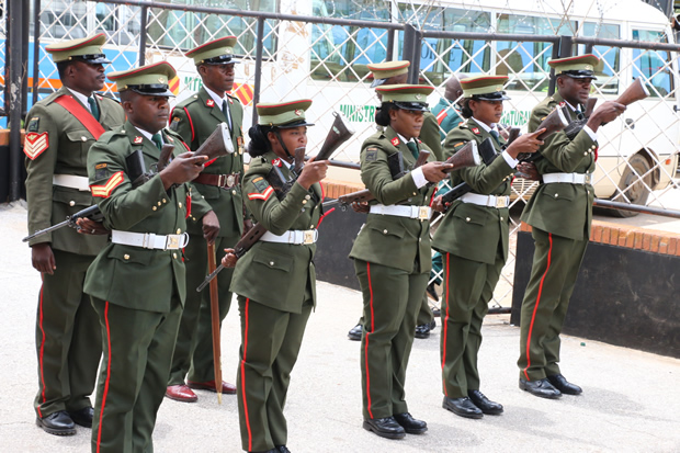 Zambia Army officers at St Ignatius Catholic Church in Lusaka-Picture by Tenson Mkhala