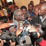 UPND secretary general Stephen Katuka speaks to journalists in Lusaka