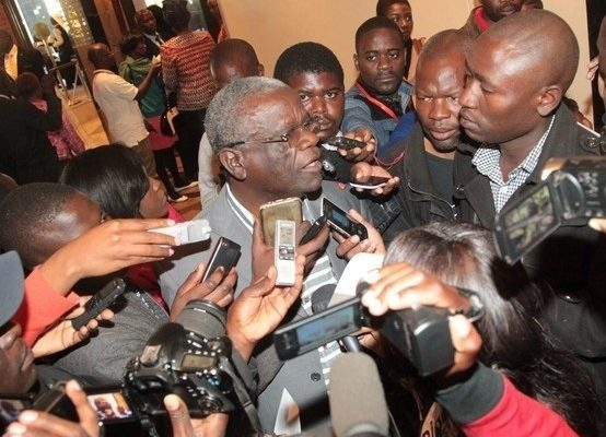 UPND spokesperson Stevphen Katuka speaks to journalist in Lusaka