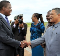 President Edgar Lungu greets Justice Minister Given Lubinda at KKIA in Lusaka-Picture by Tenson Mkhala