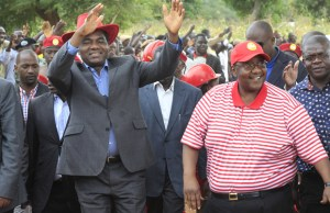 UPND president Hakainde Hichilema and his vice president Geoffery Mwamba in Petauke-picture by Tenson Mkhala