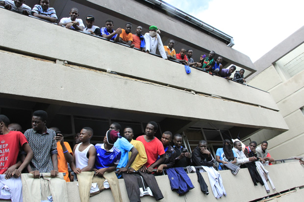 UNZA students during protest at the main campus in Lusaka last year-Picture by Tenson Mkhala