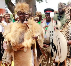 Paramount chief Mpezeni of the Ngonis in Chipata during the 2015 N'cwala-picture by Tenson Mkhala
