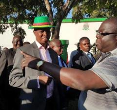 Chishimba Kambwili with President Edgar Lungu after being cleared by the PF central committee