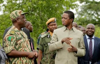 President Edgar Chagwa Lungu (centre) accompanied by Southern Province Minister Dr.Edify Hamukale and Wildlife Police Warden Lewis Daka when he visited the Musio-Tunya National Park in Livingstone on Tuesday,February 21,2017. PICTURE BY SALIM HENRY/STATE HOUSE